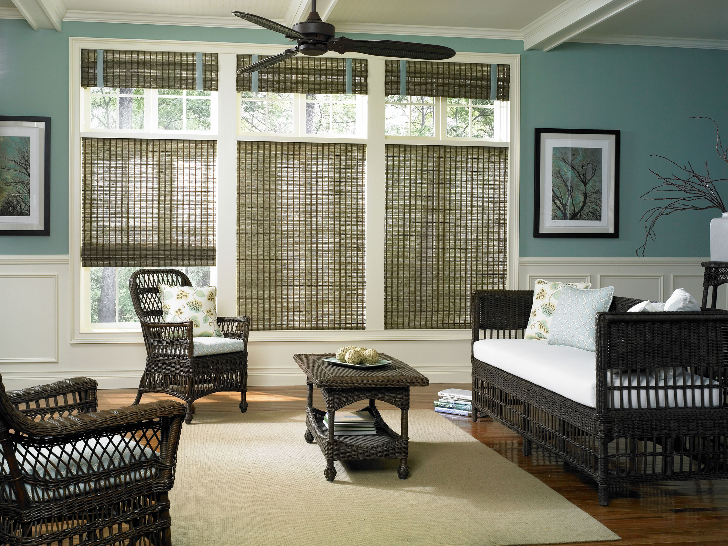 blue wall with wainscoting and window plus charming bali blinds matched with wooden floor for home interior design ideas