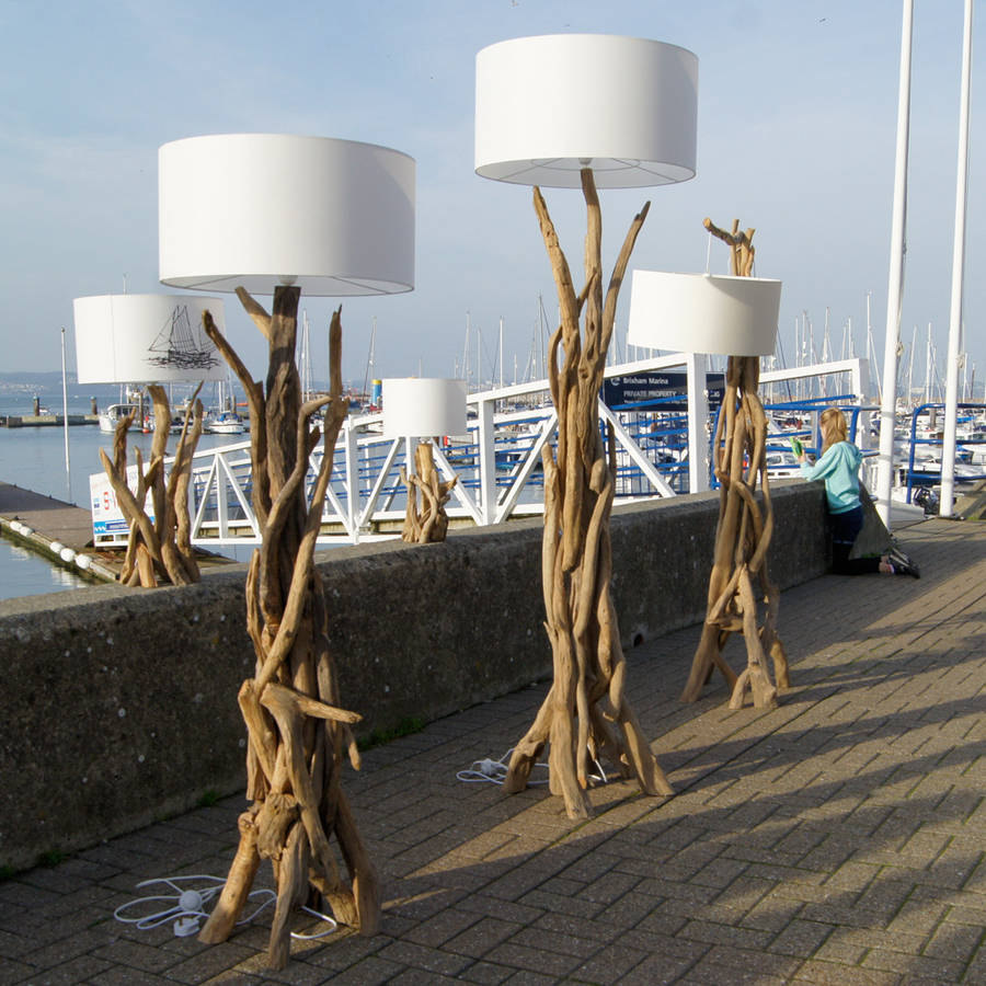 branched driftwood floor lamps with round white head for lighting ideas