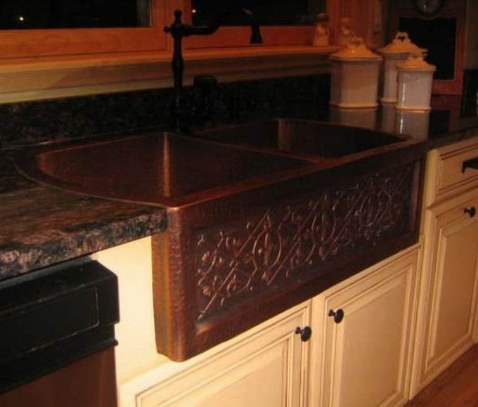 Brown Apron Sink On White Kitchen Cabinet With Black Handle And Faucet Plus Brown Countertop For Kitchen Decor Ideas