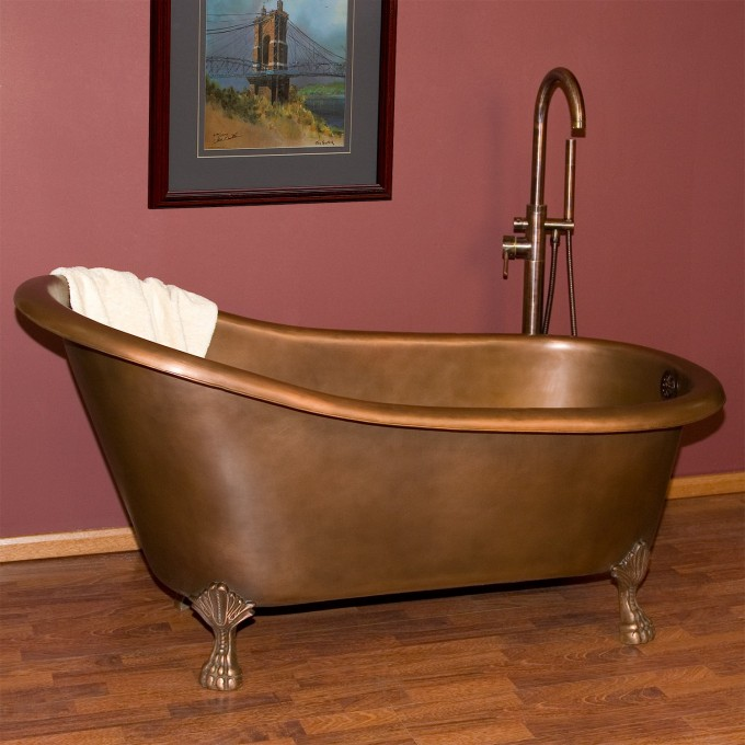 Brown Bathup With Clawfoot Tub On Wooden Floor For Bathroom Decor Ideas