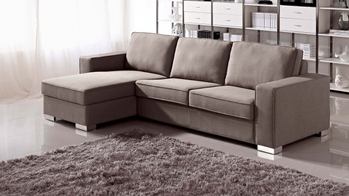 Brown Chloe Sectional Sleeper Sofa On Grey Ceramics Floor With Grey Haired Carpet For Living Room Decor Ideas