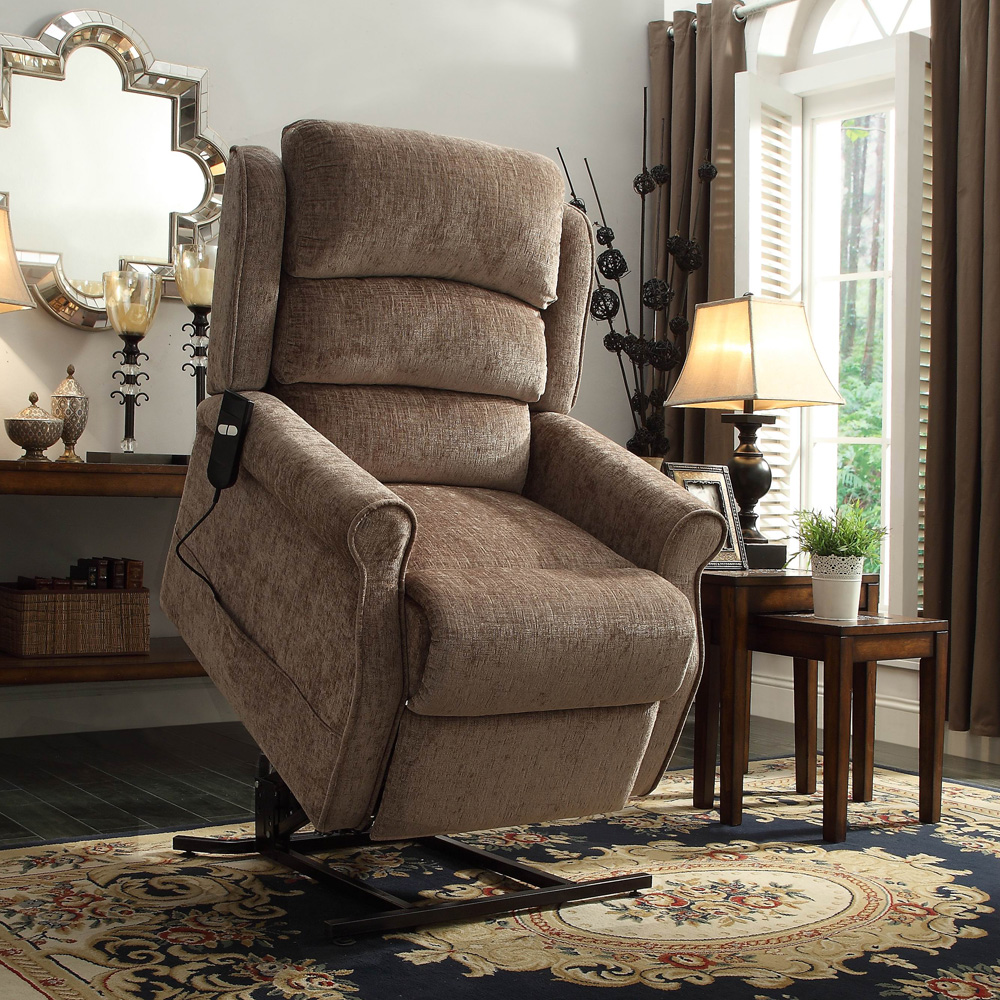 brown fabric Power Lift Recliners on floral carpet plus wooden table with table standing lamp for living room decor ideas