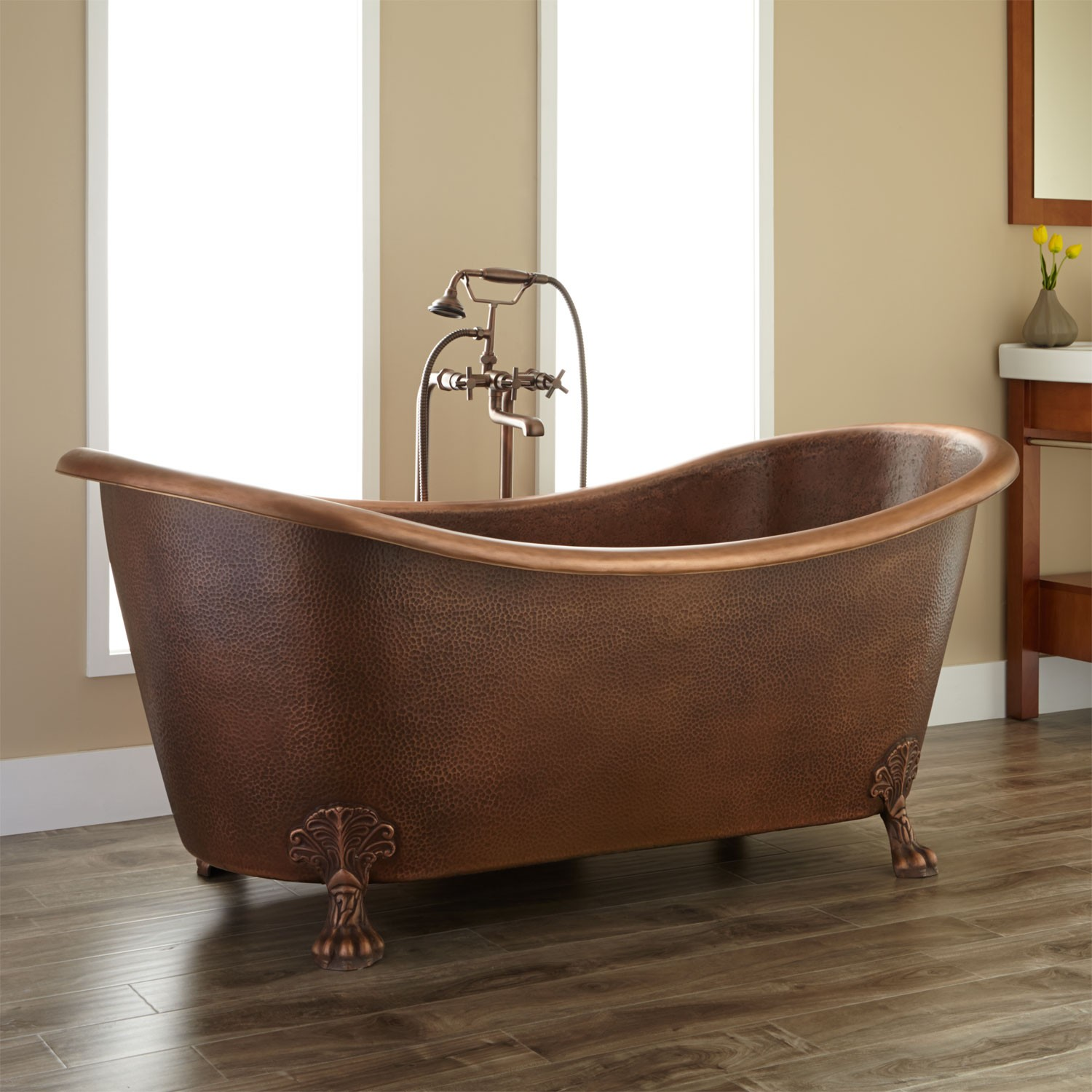Bathroom Brown Isabella Copper Double Slipper Clawfoot Tub