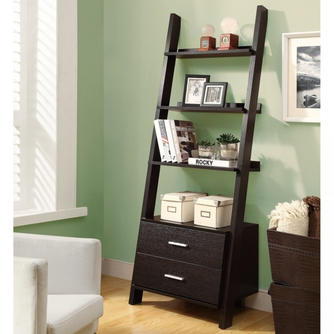 Brown Ladder Bookshelf With Drawer On Wooden Floor Matched With Grey Wall For Home Decor Ideas