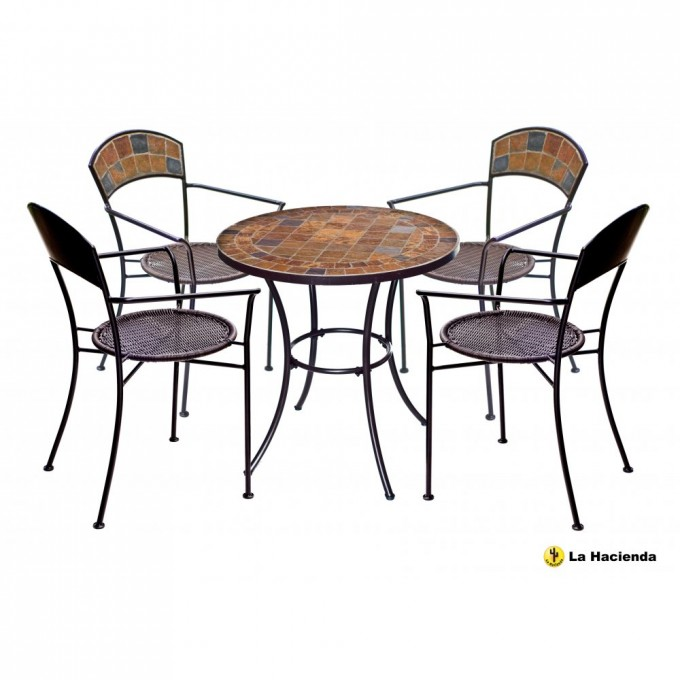 Brown Mosaic Bistro Table With Black Legs With Chairs For Home Furniture Ideas