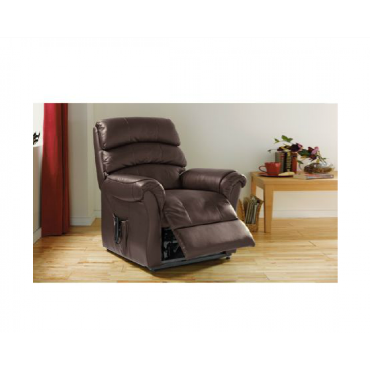 brown Power Lift Recliners with pocket on wooden floor plus wooden table for living room decor ideas