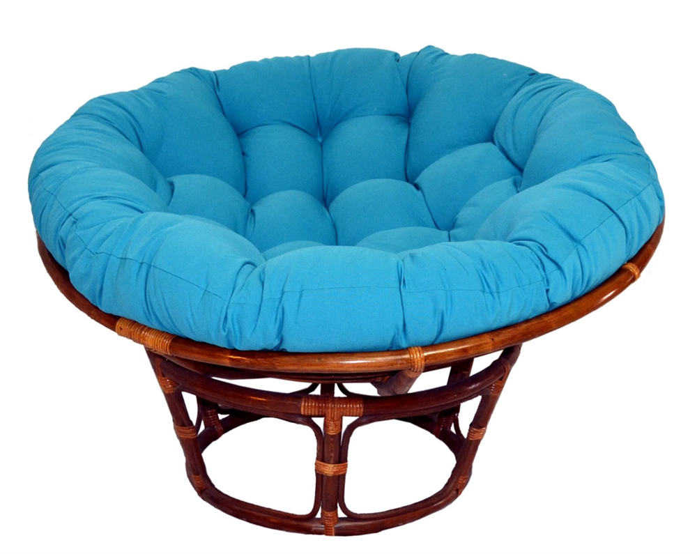 Brown Rattan Outdoor Papasan Chair With Blue Cushion Seat For Charming Furniture Ideas