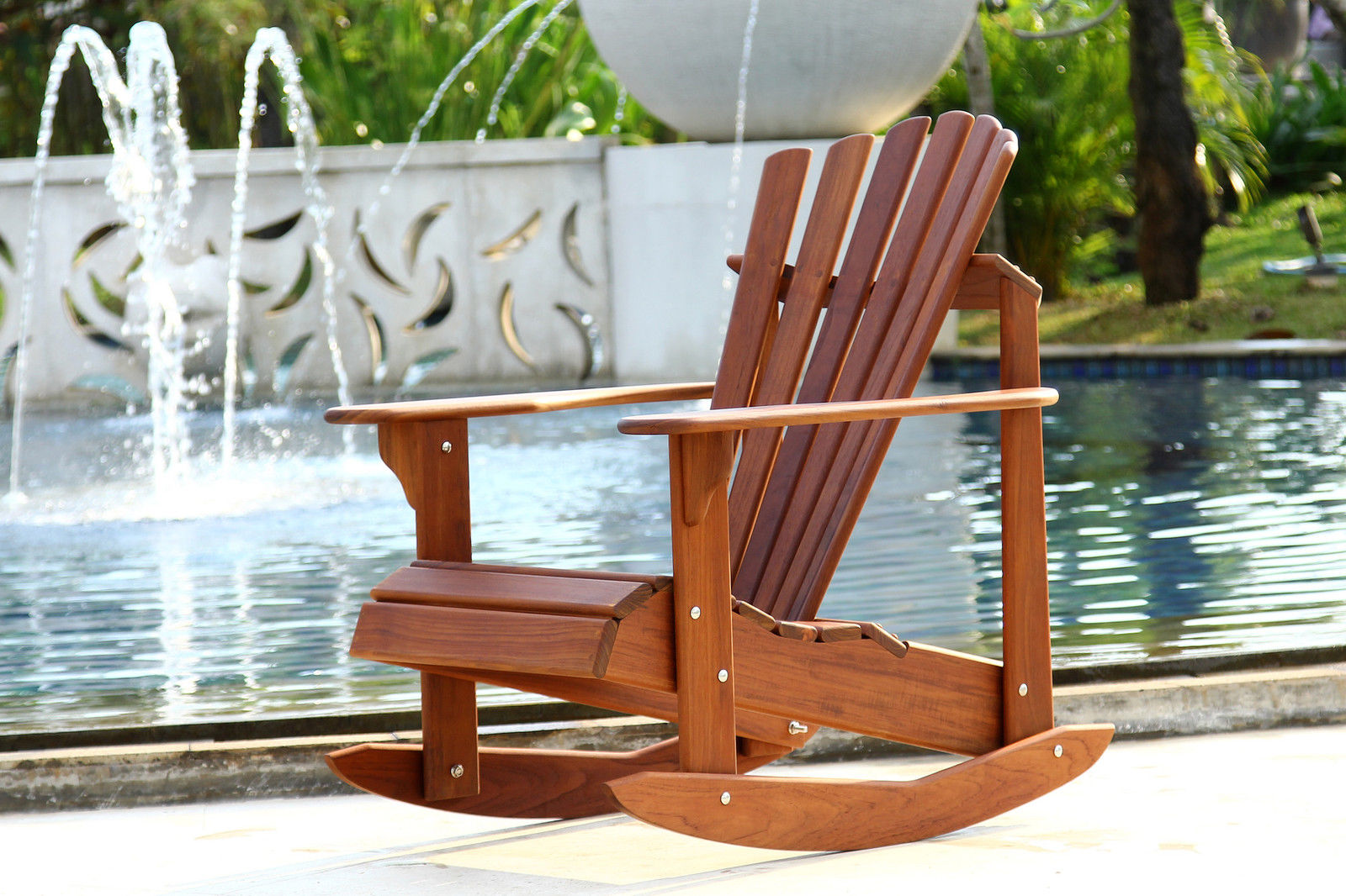 Brown Rocking Teak Adirondack Chairs For Outdoor Patio Furniture Ideas