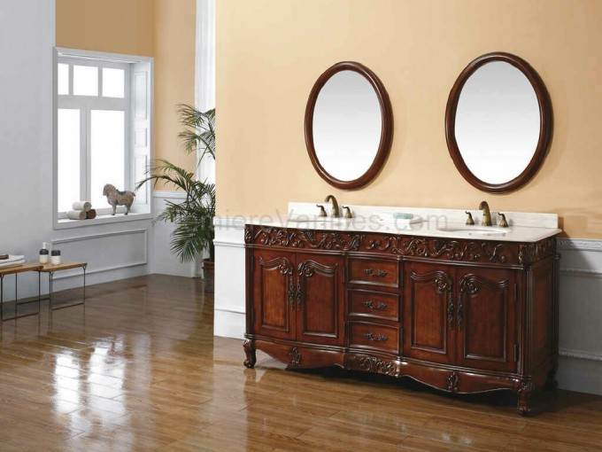 Brown Wood Bathroom Vanities With Tops And Double Sinks And Double Faucet Sets On Wooden Floor Matched With Cream Wall With White Wainscoting Plus Double Mirror For Bathroom Decor Ideas