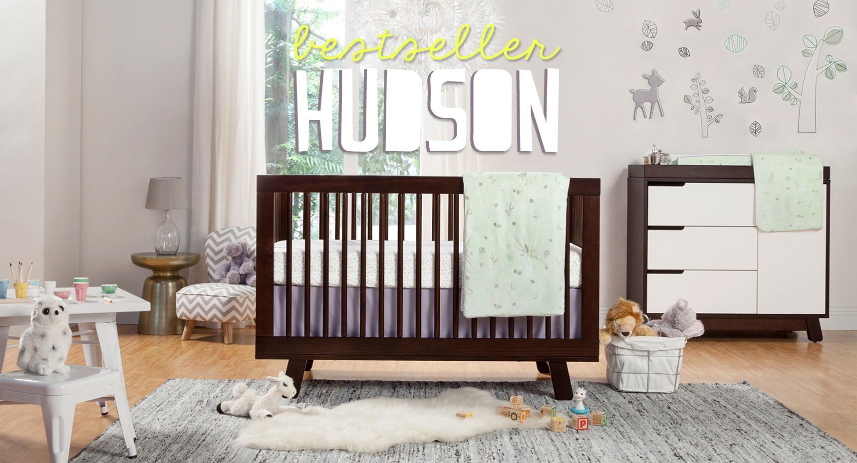 Brown Wooden Baby Box By Babyletto On Wooden Floor Plus Grey Carpet For Baby Room Decor Ideas