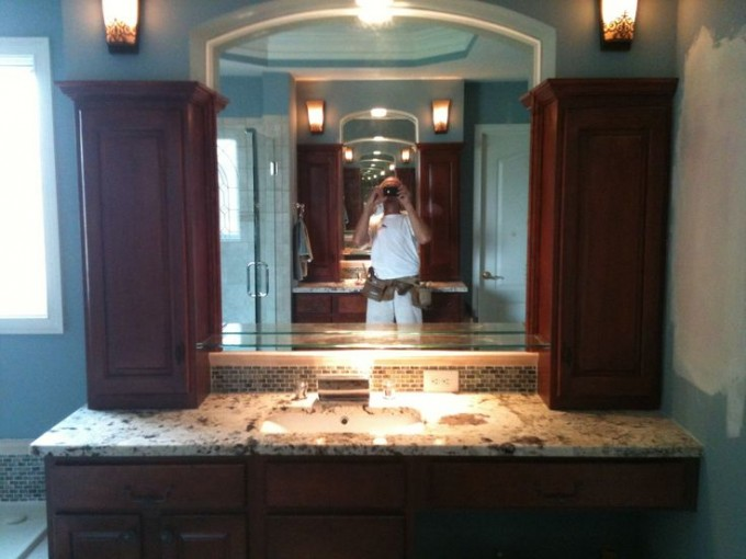 Brown Wooden Bathroom Vanities With Tops And Sink Plus Faucet Before The Mirror For Bathroom Decor Ideas