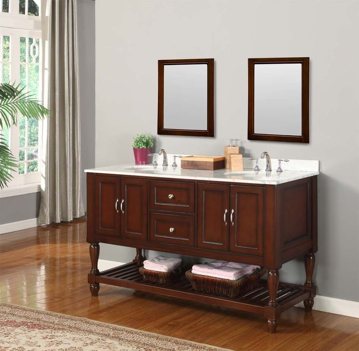 brown wooden bathroom vanities with tops and sinks plus double faucets on  floor matched Bathroom Inspiring Vanities With Tops For