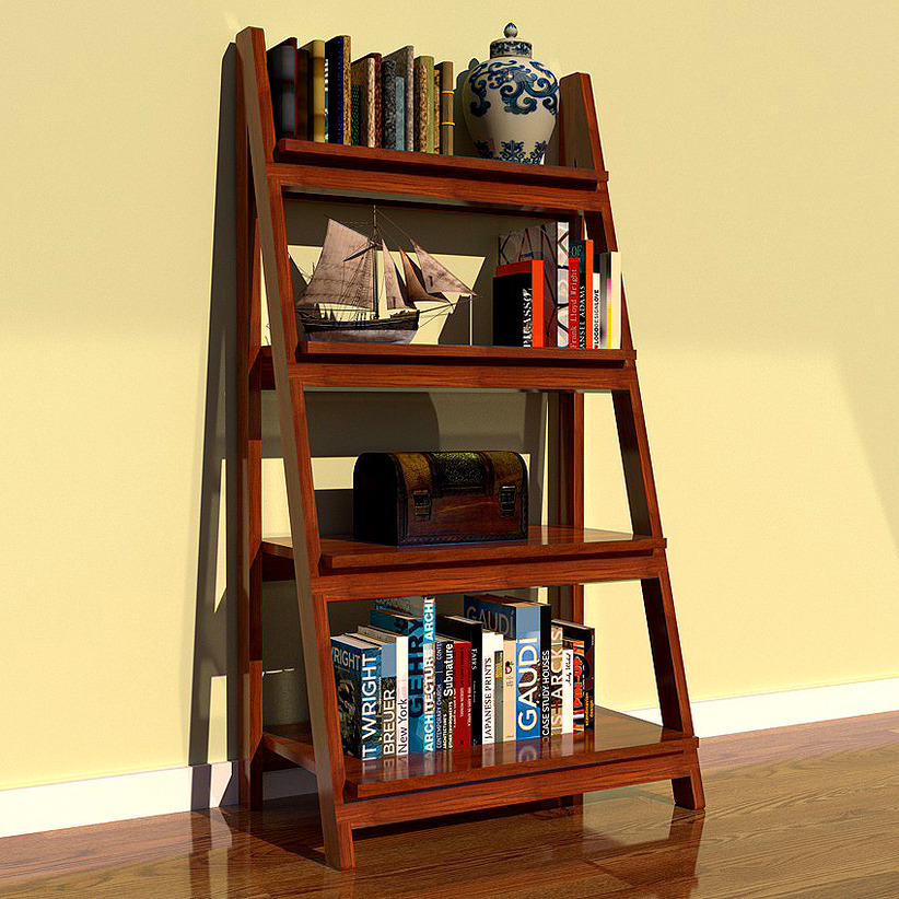 brown wooden Ladder Bookshelf on wooden floor matched with yellow wall for home decor ideas