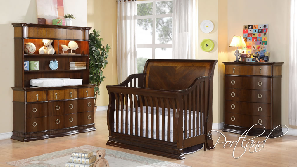 brown wooden munire crib and matching dresser and armoire on wooden floor matched with cream wall for nursery decor ideas