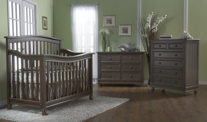 Brown Wooden Munire Crib On Wooden Floor Matched With Olive Wall Plus Wooden Dresser For Nursery Decor Ideas
