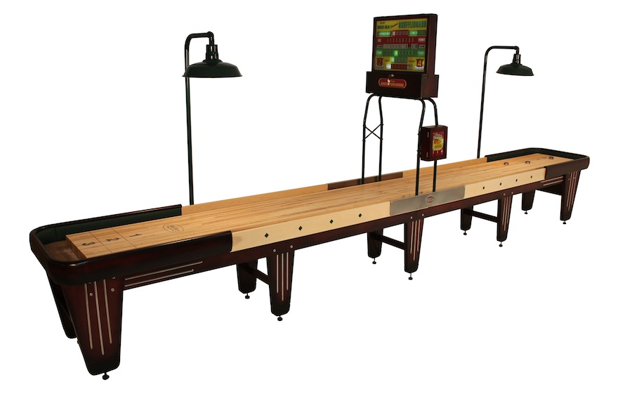 brown wooden shuffleboard table for sale with cream suface
