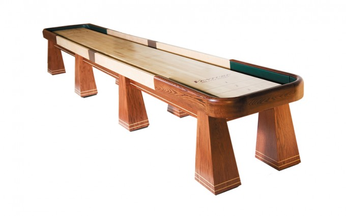 Brown Wooden Shuffleboard Table For Sale With Cream Surface For Traditional Game Ideas