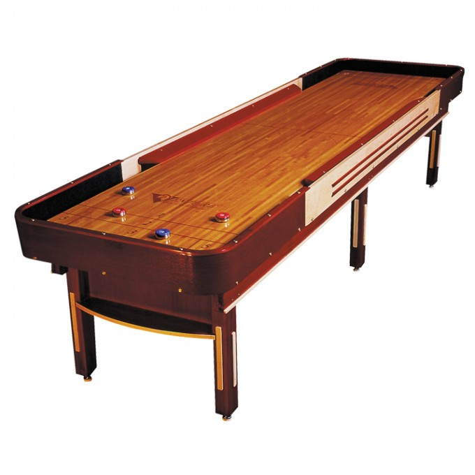 Brown Wooden Shuffleboard Table For Sale With Cream Surface