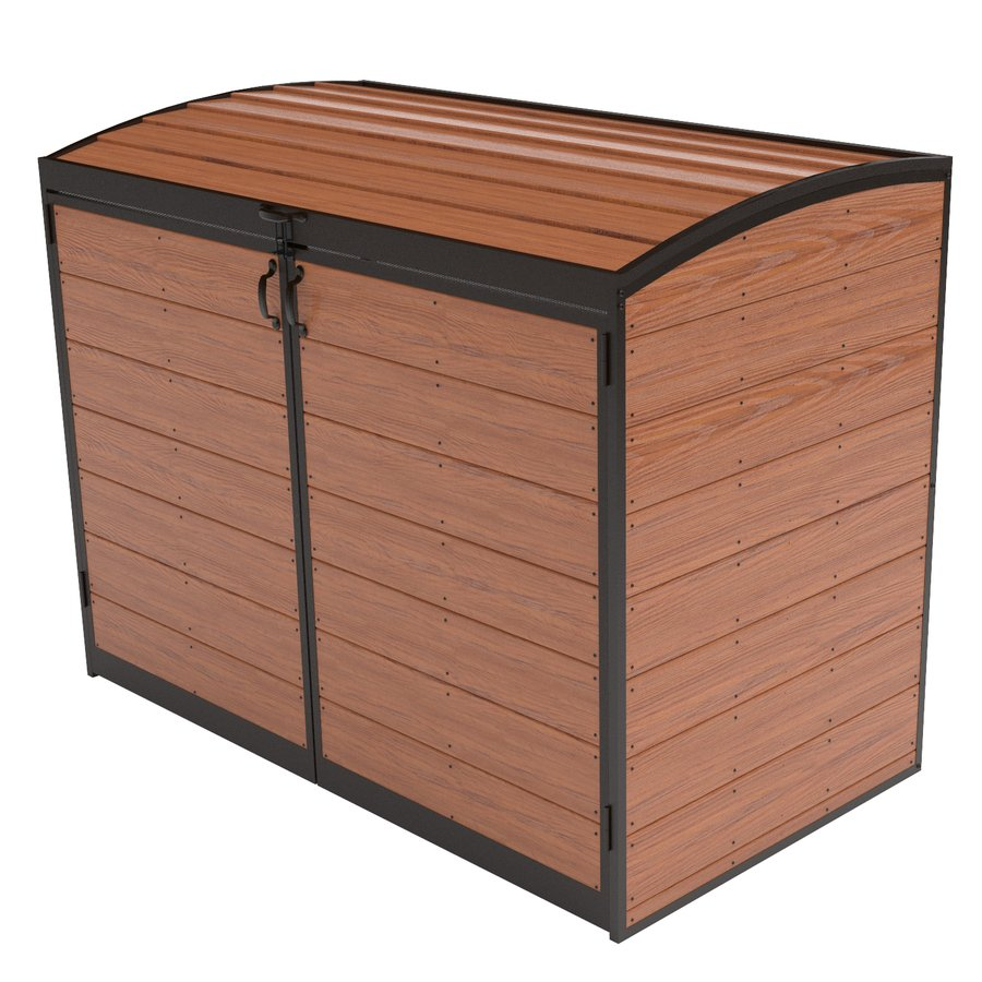 Brown Wooden Suncast Deck Box Ideas With Black List And Handle For Charming Patio Furniture
