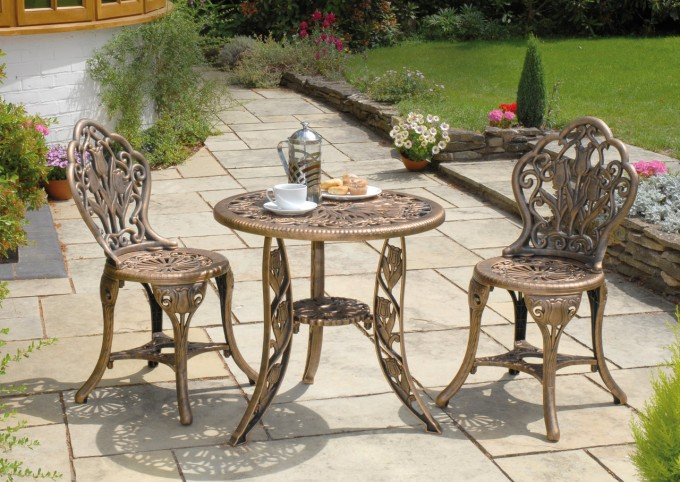Burly Wood Mosaic Bistro Table With Double Chairs On Tile Floor For Patio Decor Ideas
