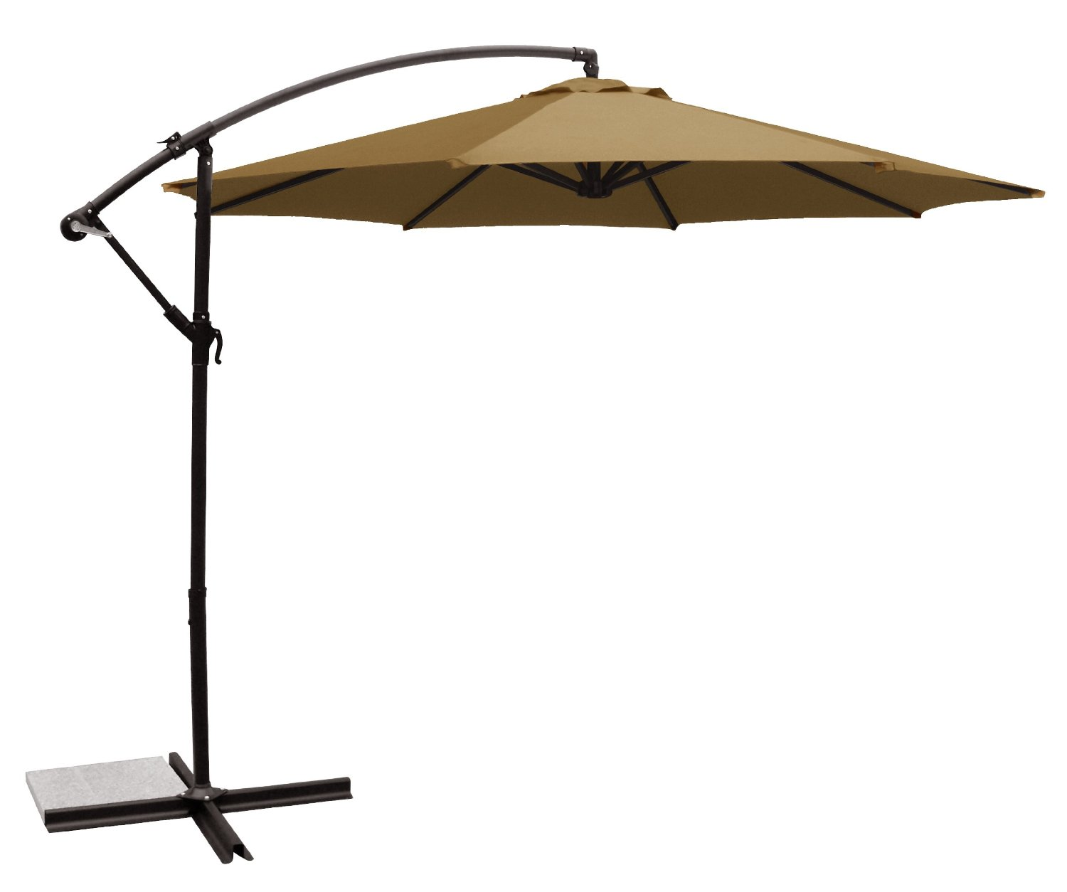 cantilever patio umbrella in tan with black metal stand for patio furniture ideas