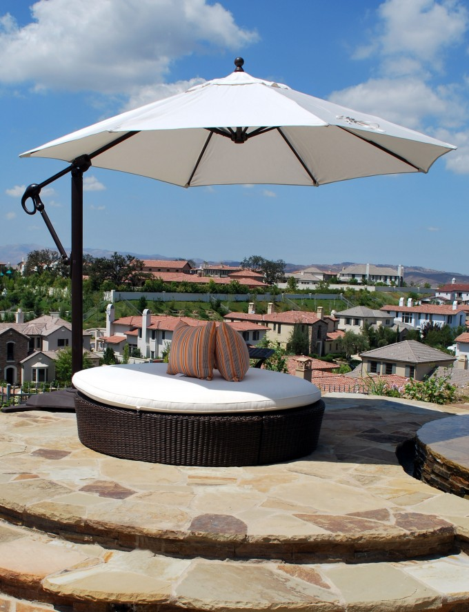Cantilever Patio Umbrella In White With Round Stool For Patio Furniture Ideas