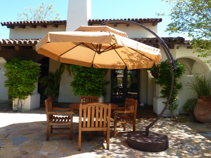 Cantilever Patio Umbrella With Black Stand Plus Wooden Dining Table For Patio Decor Ideas