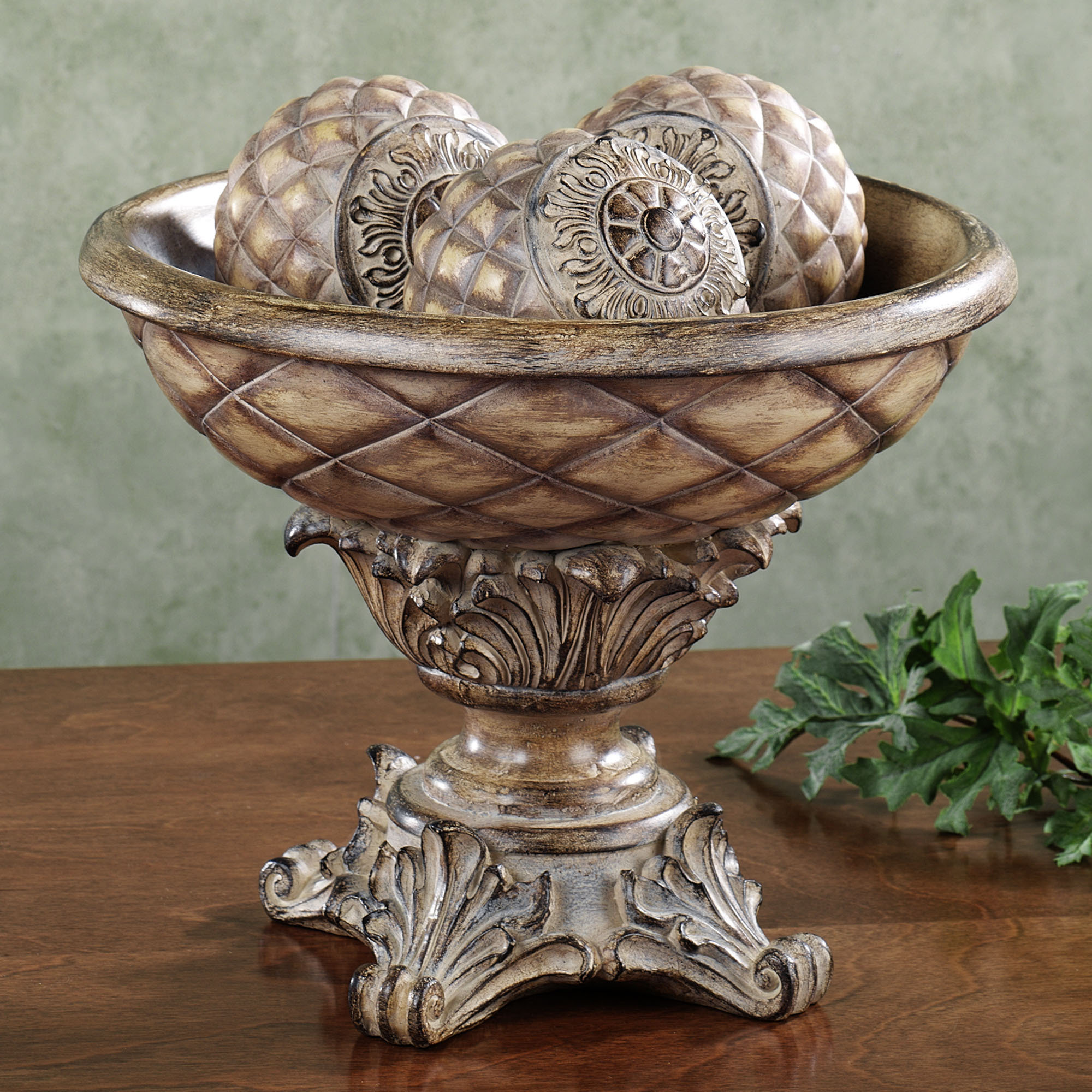 Centerpiece Bowl with decorative orbs for table accessories ideas