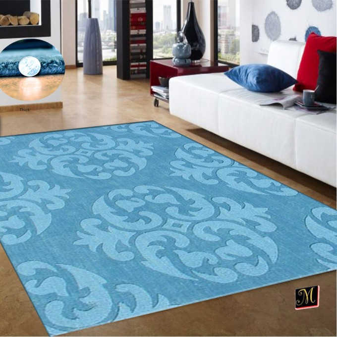 Charming 5x7 Area Rugs In Blue On Wooden Floor Plus White Sofa With Cushions For Inspiring Living Room Decor Ideas