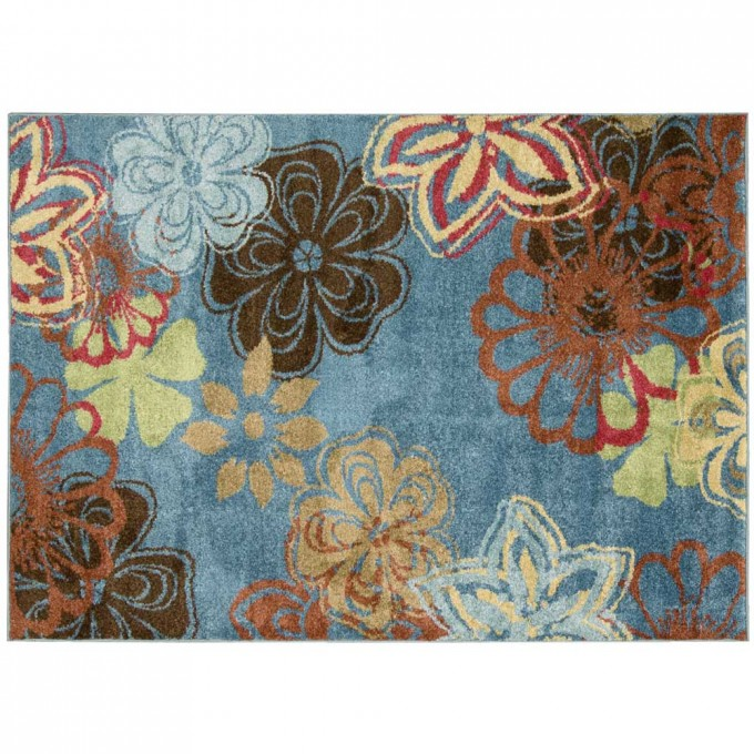 Charming 5x7 Area Rugs In Blue With Flowers Motif For Floor Decor Ideas