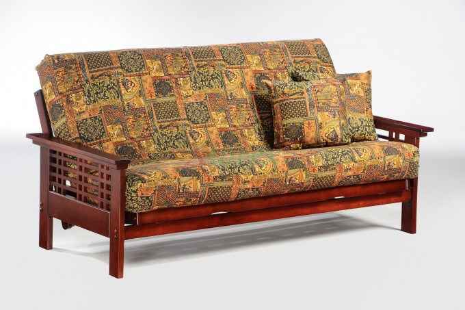 Charming And Comfortable Cheap Futons With Floral Motif For Home Furniture Ideas