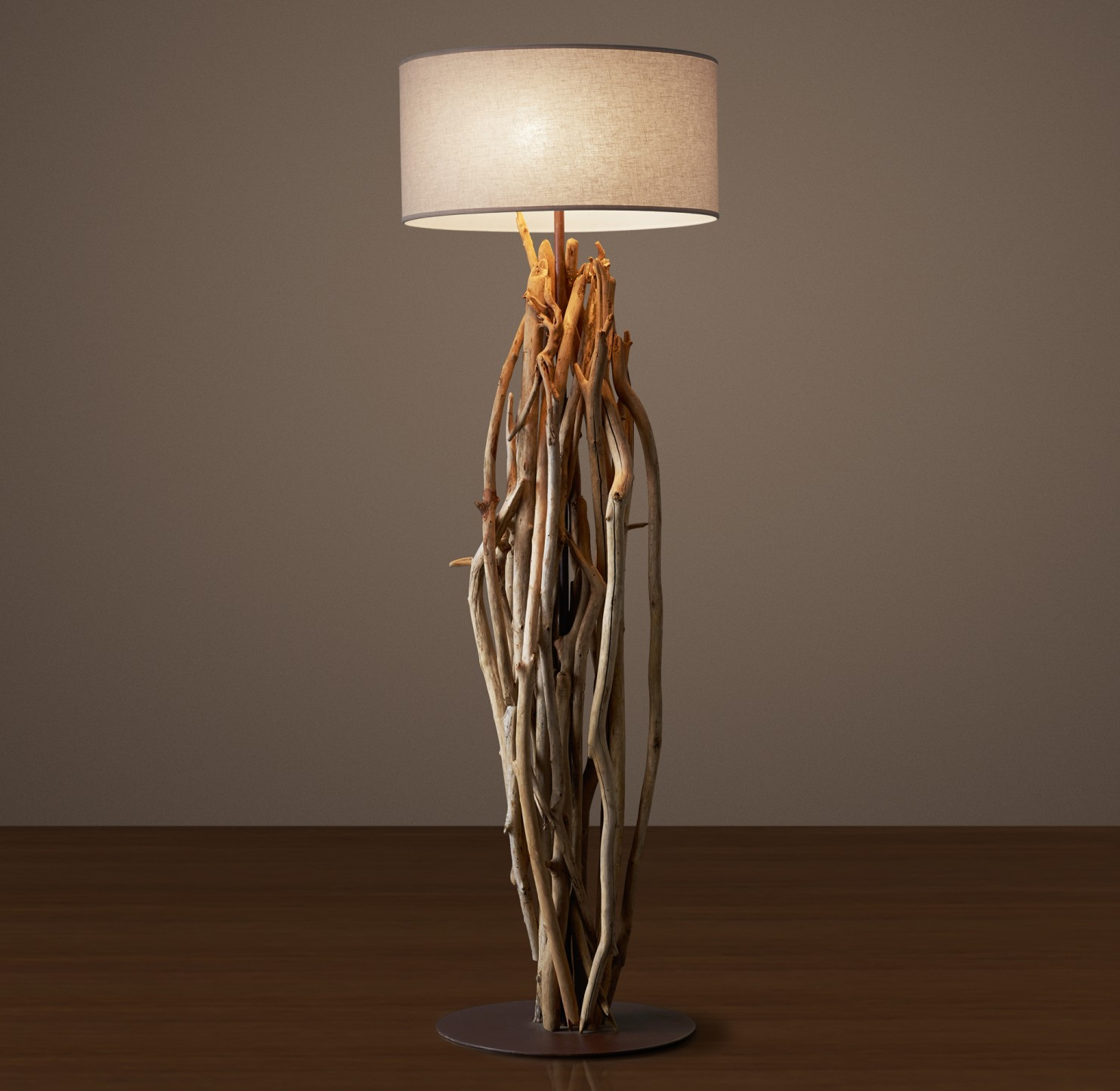 charming and unique driftwood floor lamp with round white head for home furniture ideas