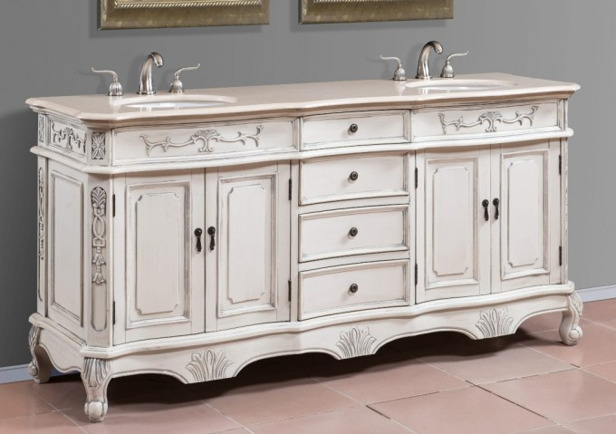 Charming Antique White Bathroom Vanities With Tops And Double Sinks And Faucets For Bathroom Furniture Ideas