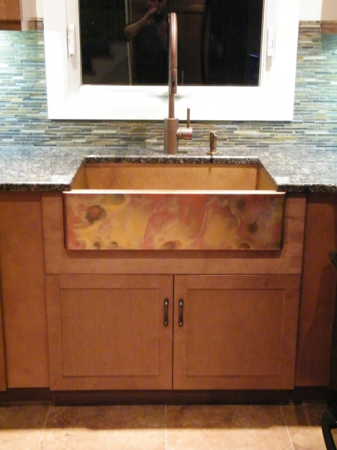 Charming Apron Sink On Brown Wooden Kitchen Cabinet With Marble Countertop Plus Silver Kitchen Faucet For Kitchen Decor Ideas