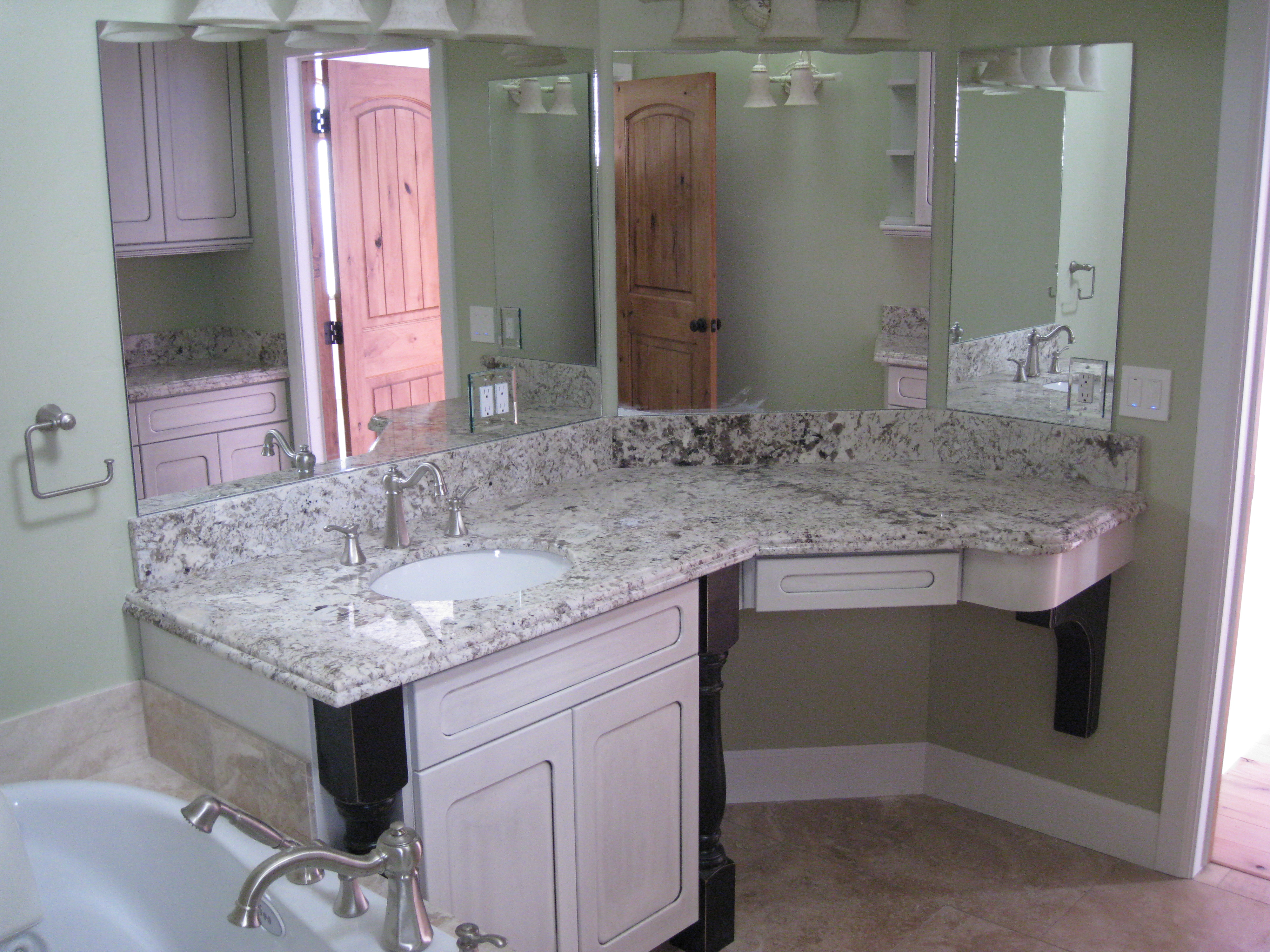 charming bathroom vanities with tops and single sink and faucet plus mirror for bathroom decor ideas