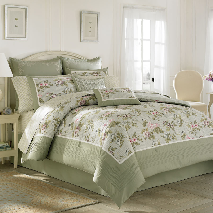 charming bedding in olive and floral pattern by laura ashley bedding on wheat floor matched with white wall plus white window plus white curtain for bedroom decor ideas