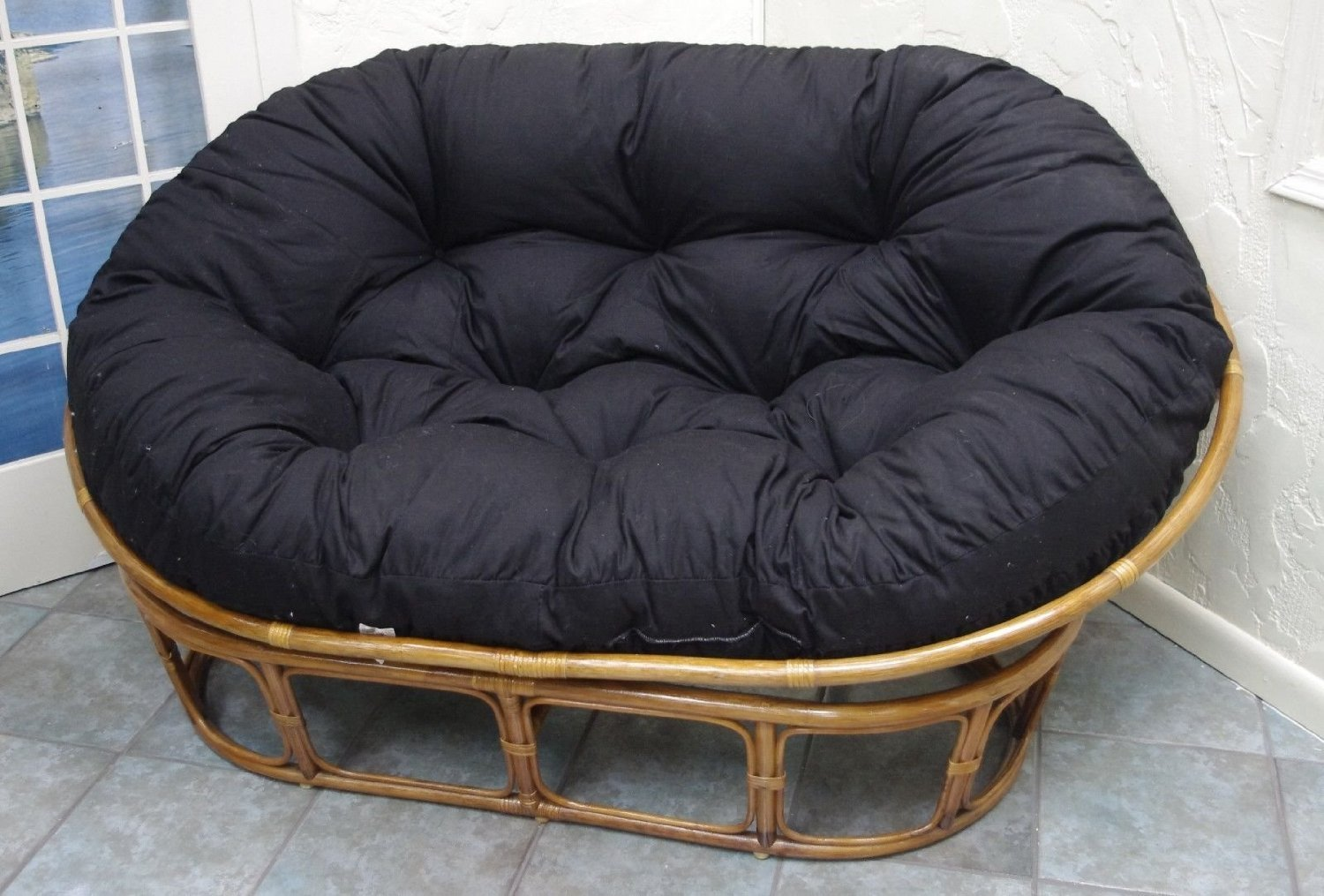 charming black rattan outdoor papasan chair with cushion seat in black nuance for charming furniture ideas