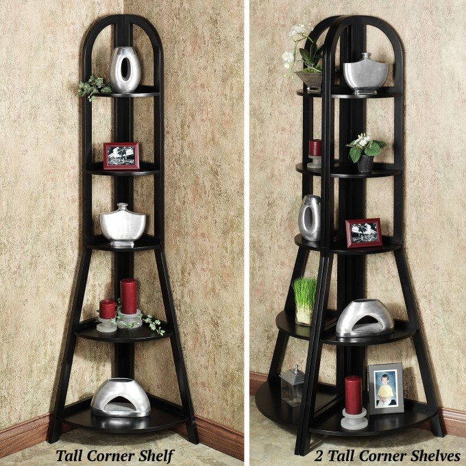 Charming Black Wooden Corner Ladder Bookshelf For Home Furniture Ideas