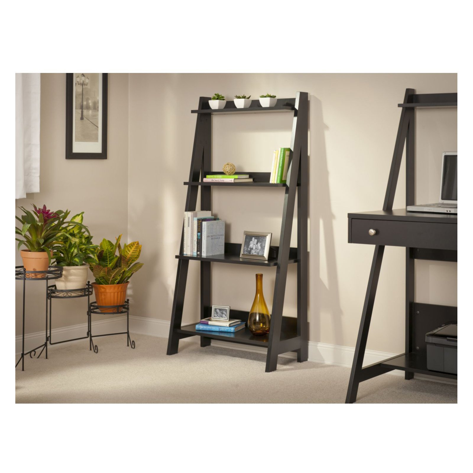 charming black wooden ladder bookshelf near the black desk on wheat floor matching with wheat wall for office decor ideas