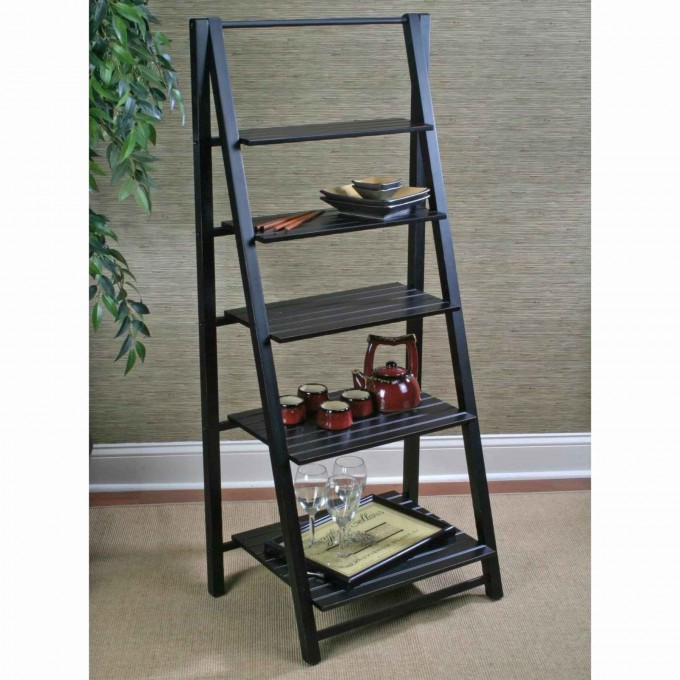 Charming Black Wooden Ladder Bookshelf On Tan Floor Matched With Grey Wall Plus White Baseboard Molding For Home Decor Ideas