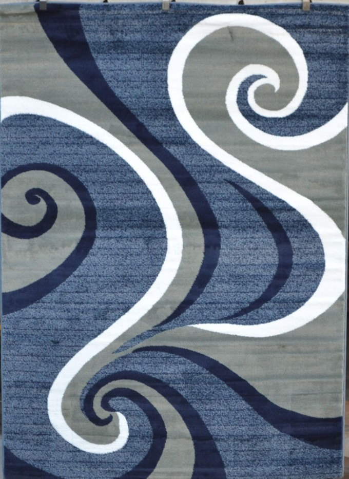 Charming Blue And Grey 5x7 Area Rugs With Curved Motif For Floor Decor Ideas