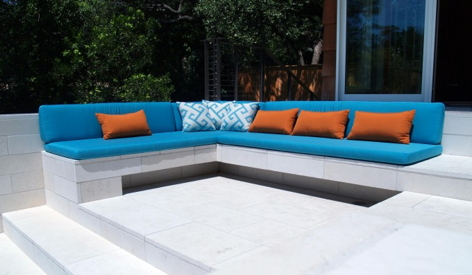 Charming Blue Sunbrella Cushions Matched With Brown Cushion On L Shaped Sofa For Charming Outdoor Living Room Ideas