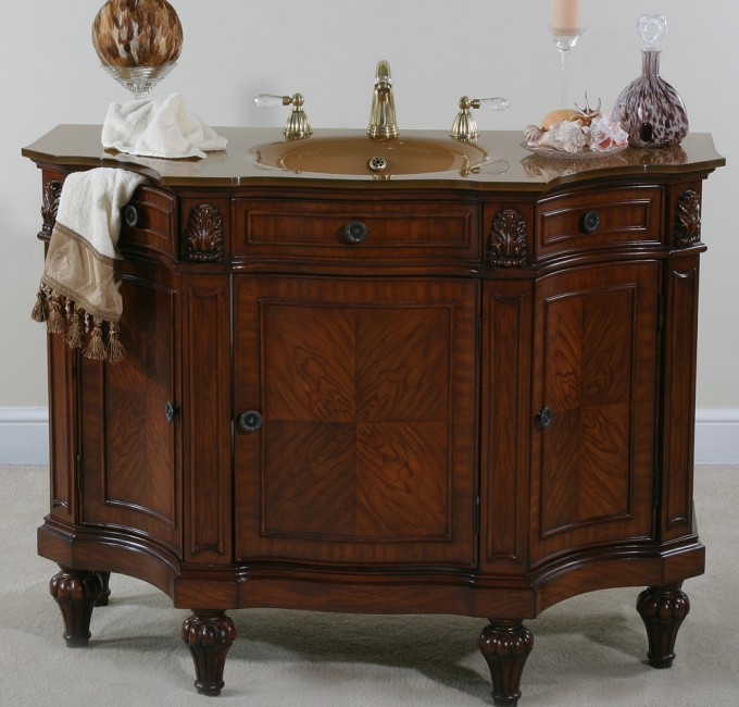 Charming Brown Wooden Bathroom Vanities With Tops And Sink Plus Faucet For Bathroom Furniture Ideas