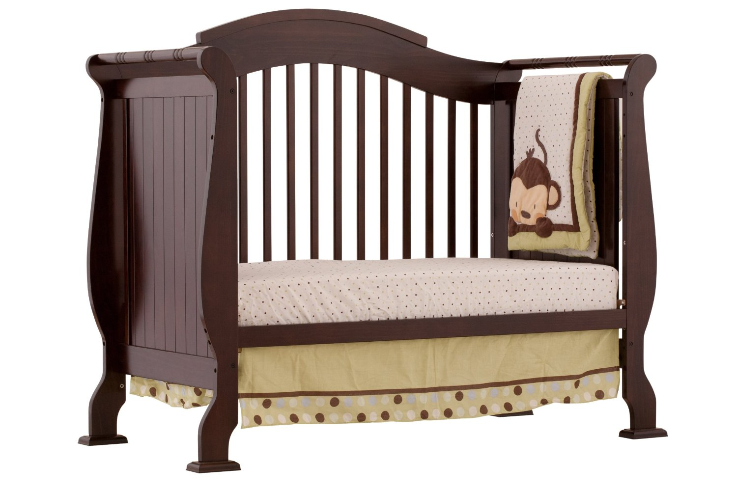 charming brown wooden crib with dotted bedding by munire crib for nursery furniture ideas