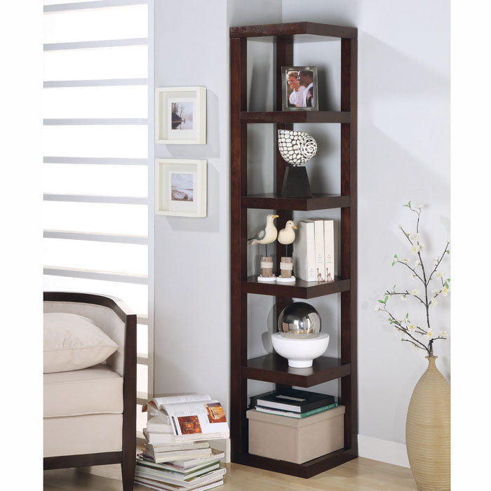 charming brown wooden ladder bookshelf on wooden floor mathced with sky blue wall plus single sofa for living room decor ideas