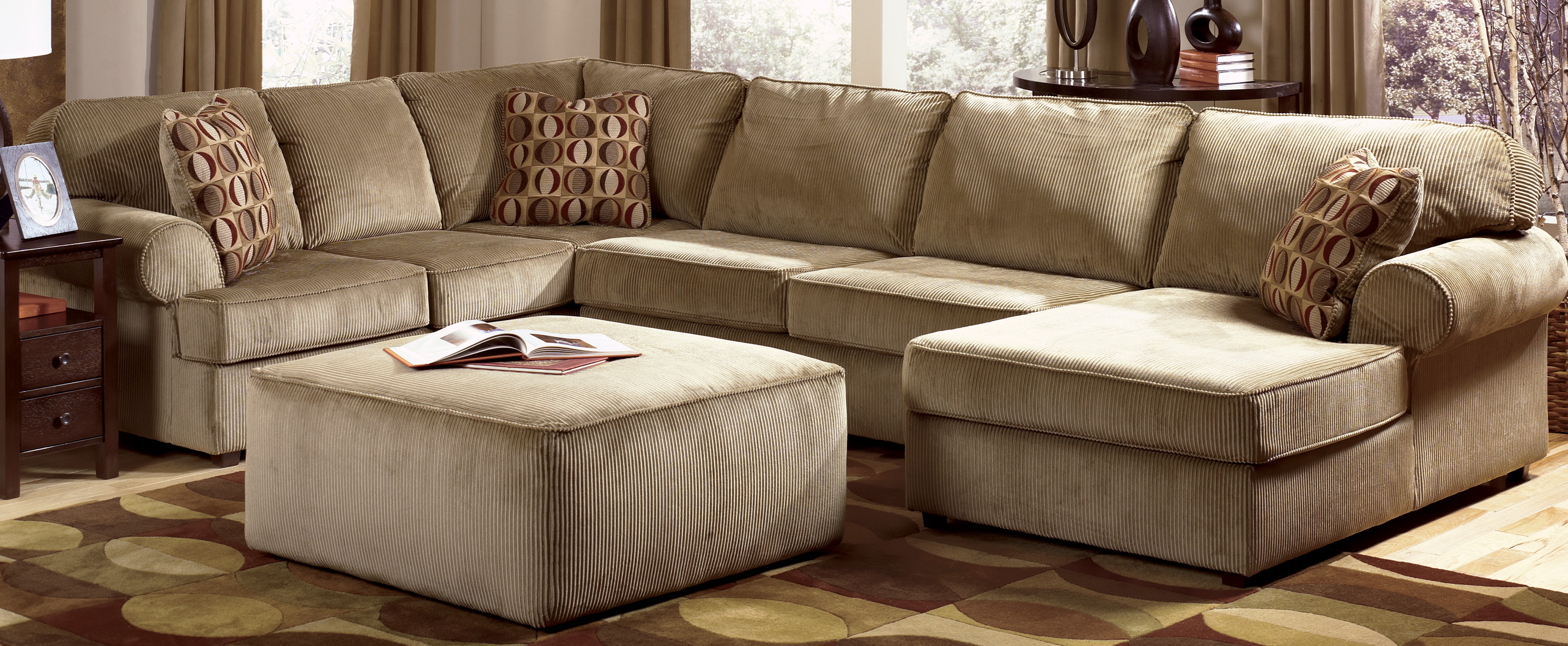Charming Cheap Sectional Sofas In Cream On Brown Carpet For Living Room  Decor Ideas