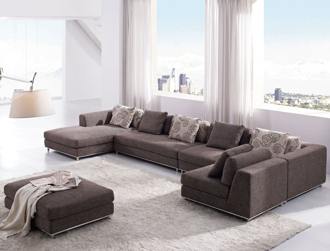 charming cheap sectional sofas in dark brown on white ceramics floor plus white carpet and ottoman for living room decor ideas