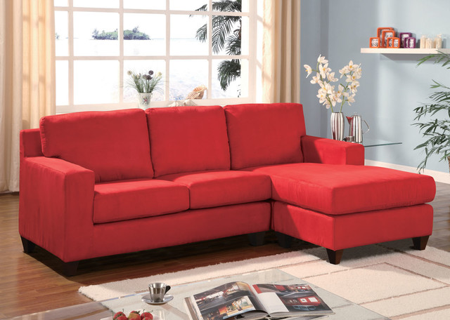 Charming Cheap Sectional Sofas In Solid Red On Wooden Floor Plus Cream Checked Carpet Matched With Blue Wall For Living Room Furniture Ideas