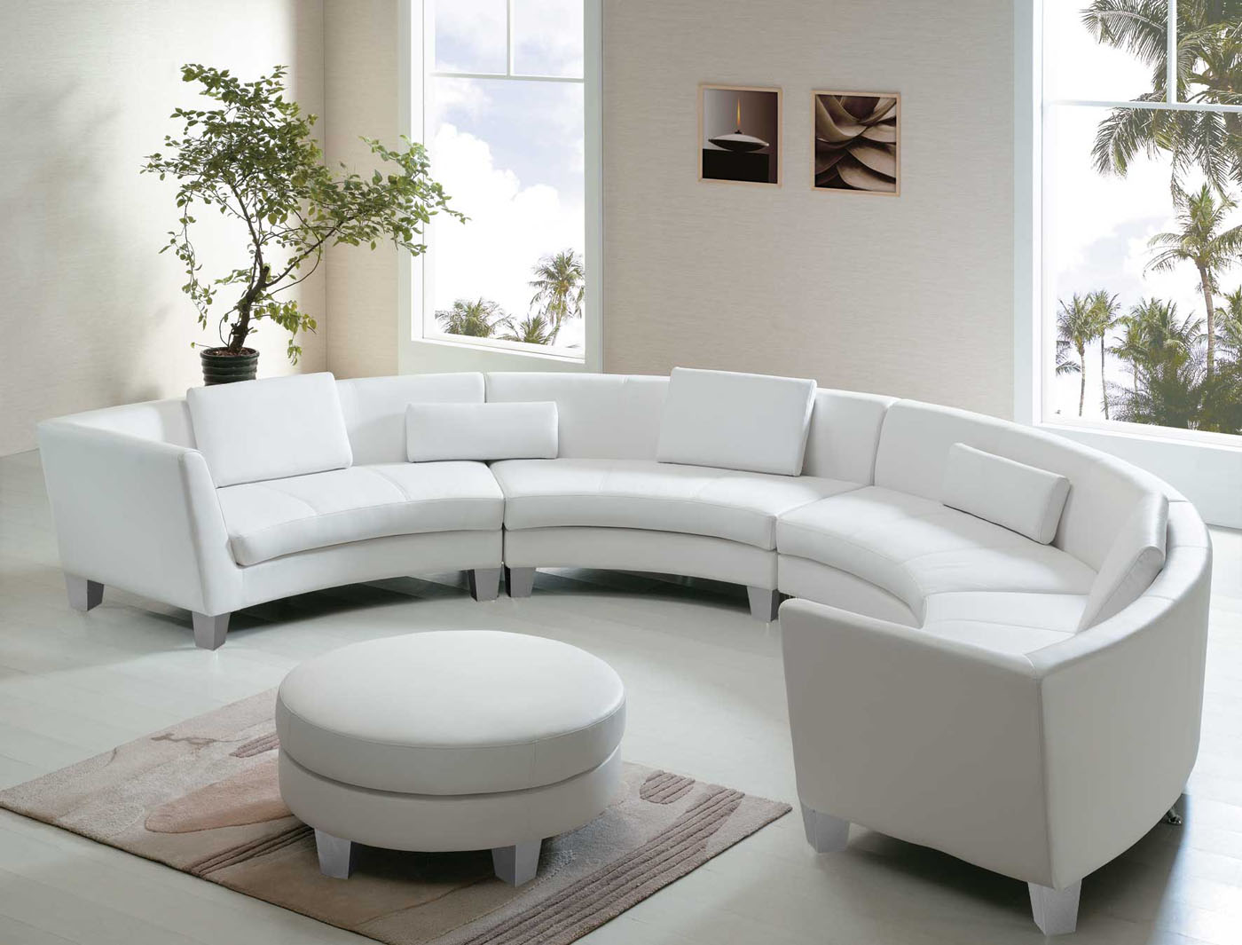 charming cheap sectional sofas in solid white on white ceramics floor plus small rugs and white round ottoman for living room decor ideas