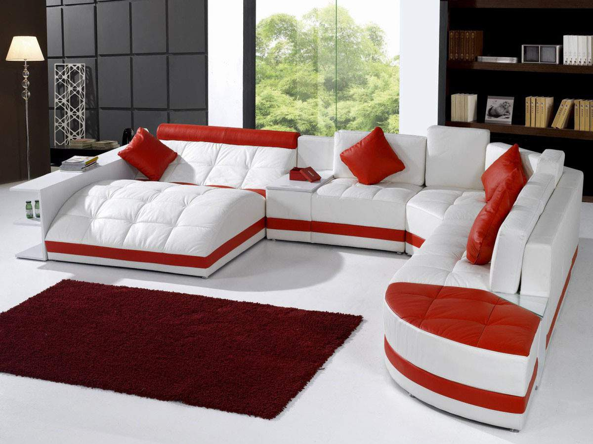 charming cheap sectional sofas in white and red theme on white ceramics floor plus red rectangular carpet plus red cushions for living room decor ideas